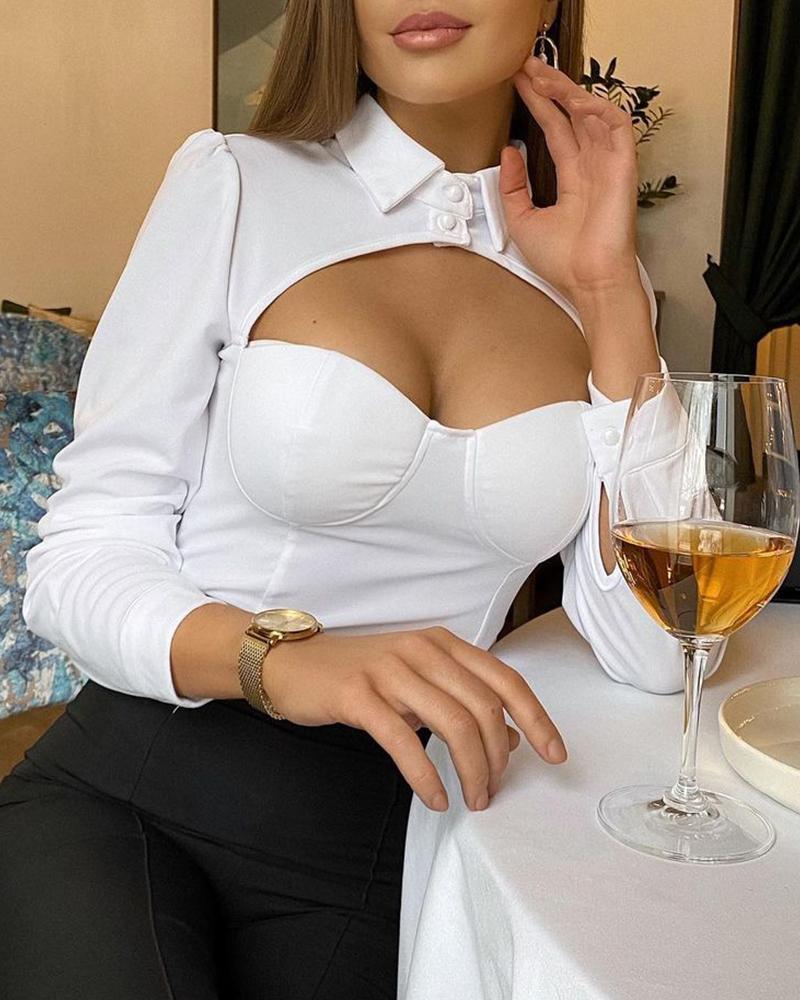 Cutout Design Long Sleeve Shirt, White