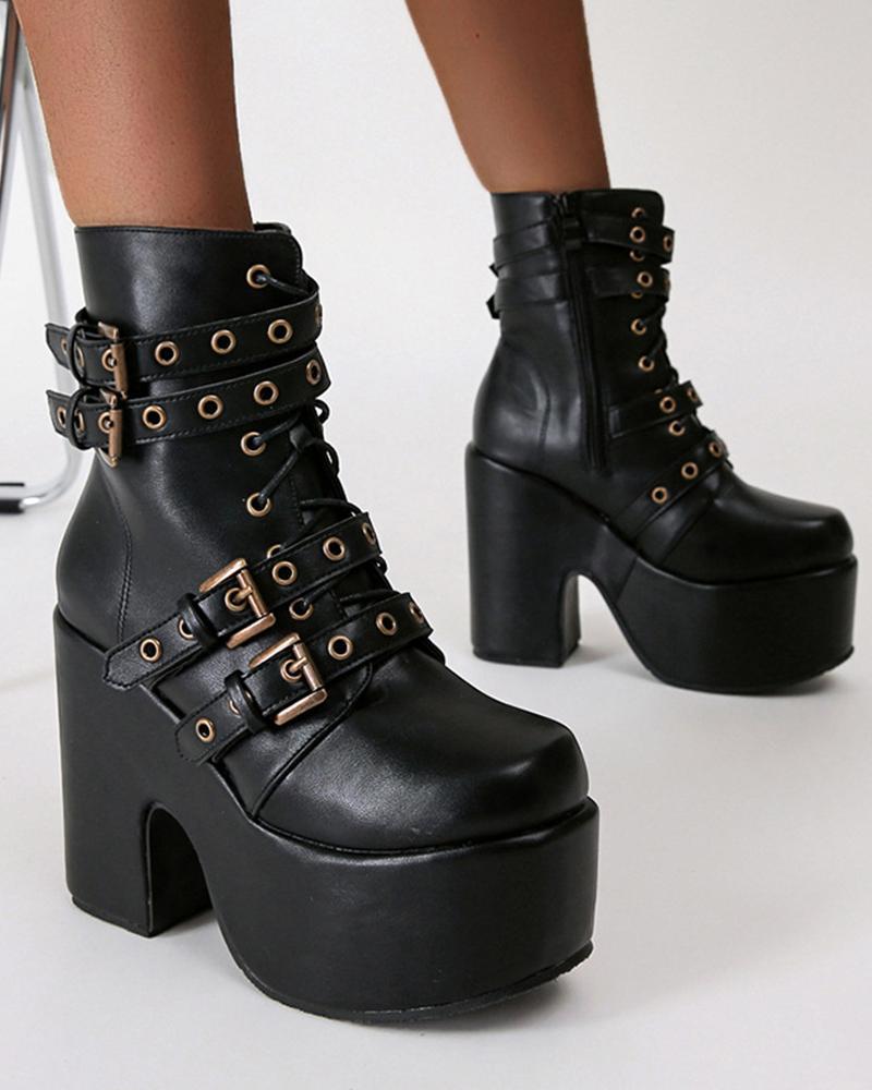 Womens Round Toe Wax Finish Buckle Decor High Heel Boots