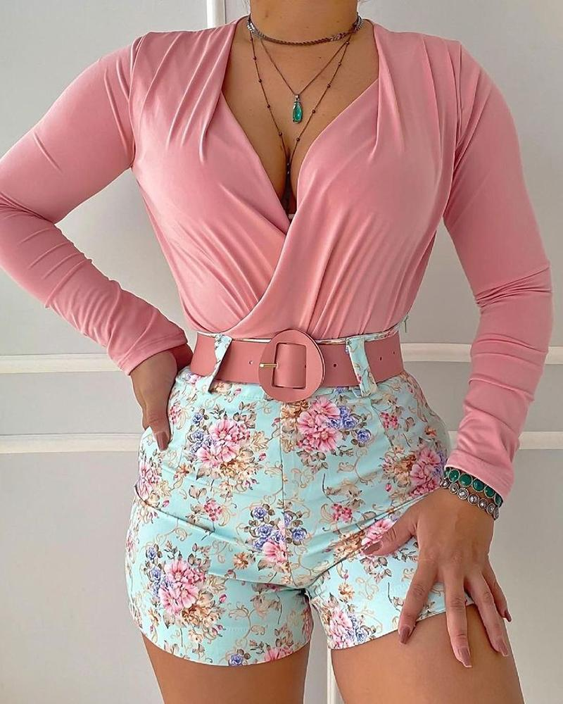 Ruched Long Sleeve Top & Floral Print Shorts Sets