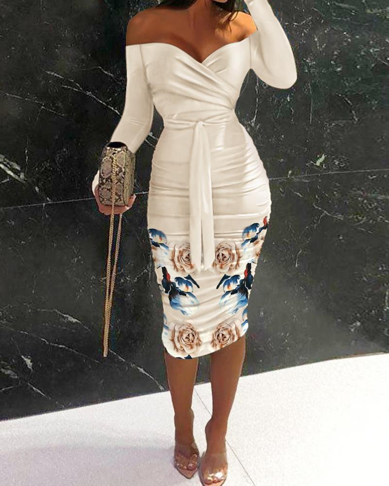 Floral Print Off Shoulder Ruched Belted Bodycon Dress Long Sleeve Slim Midi Dress Party Dress