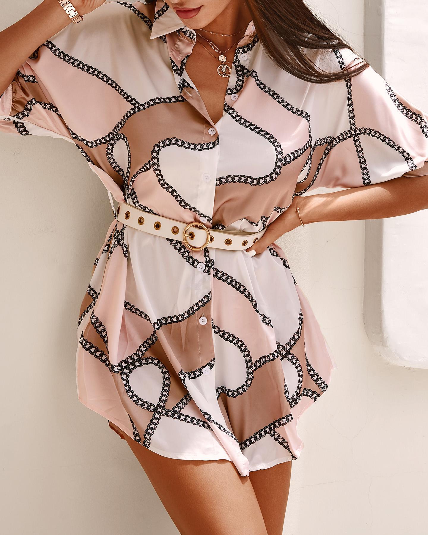 Chain Print High Slit Shirt Dress