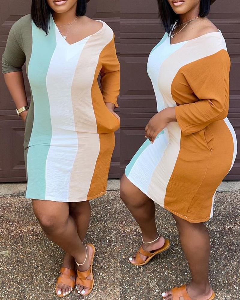Rainbow Stripe Pocket Bodycon Dress