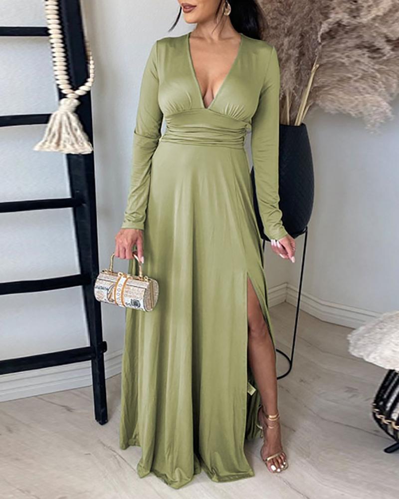 Long Sleeve High Slit Ruched Maxi Dress