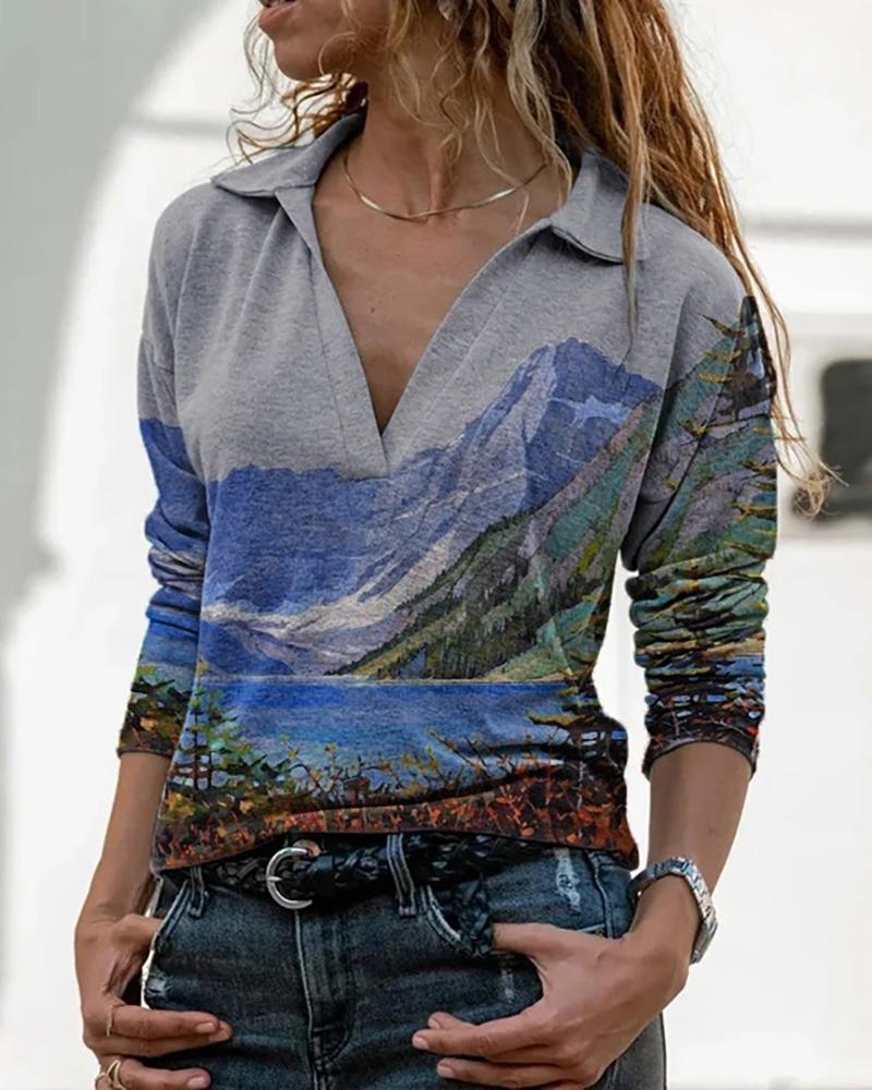 Landscape Print Long Sleeve Top