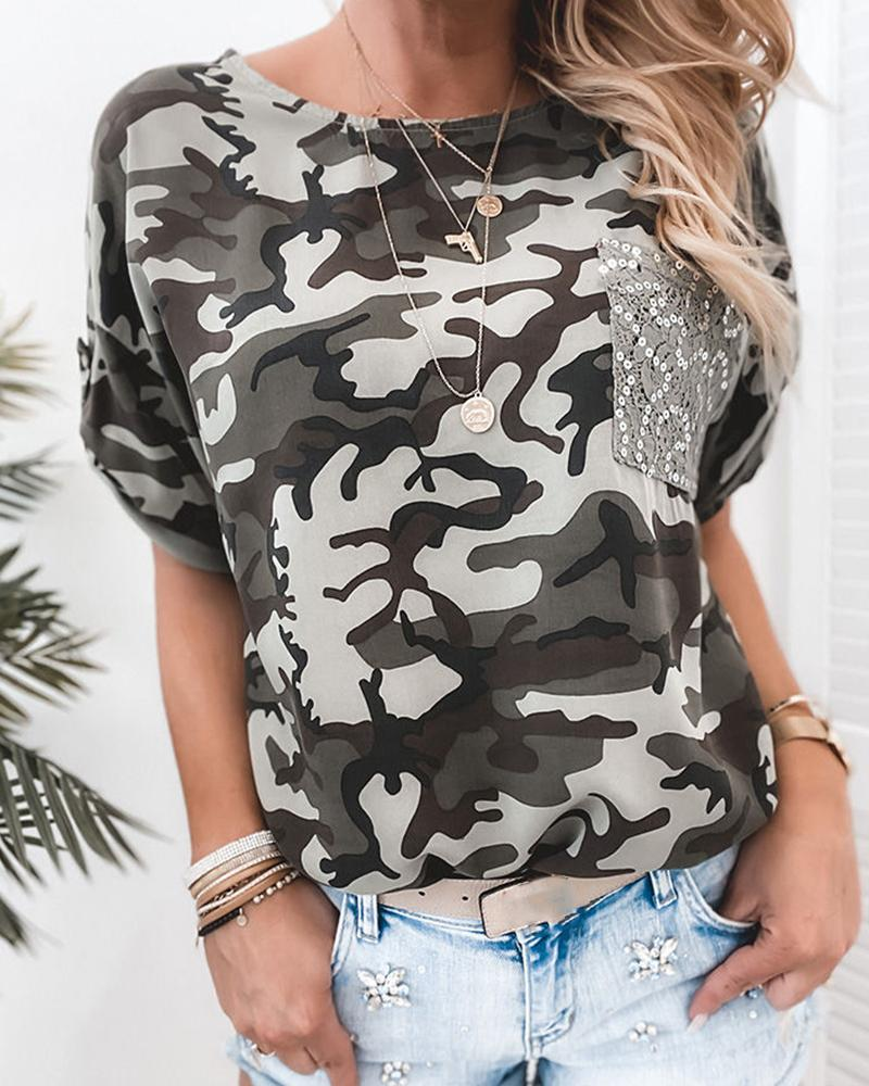 Sequin Pocket Camo Print T-Shirt