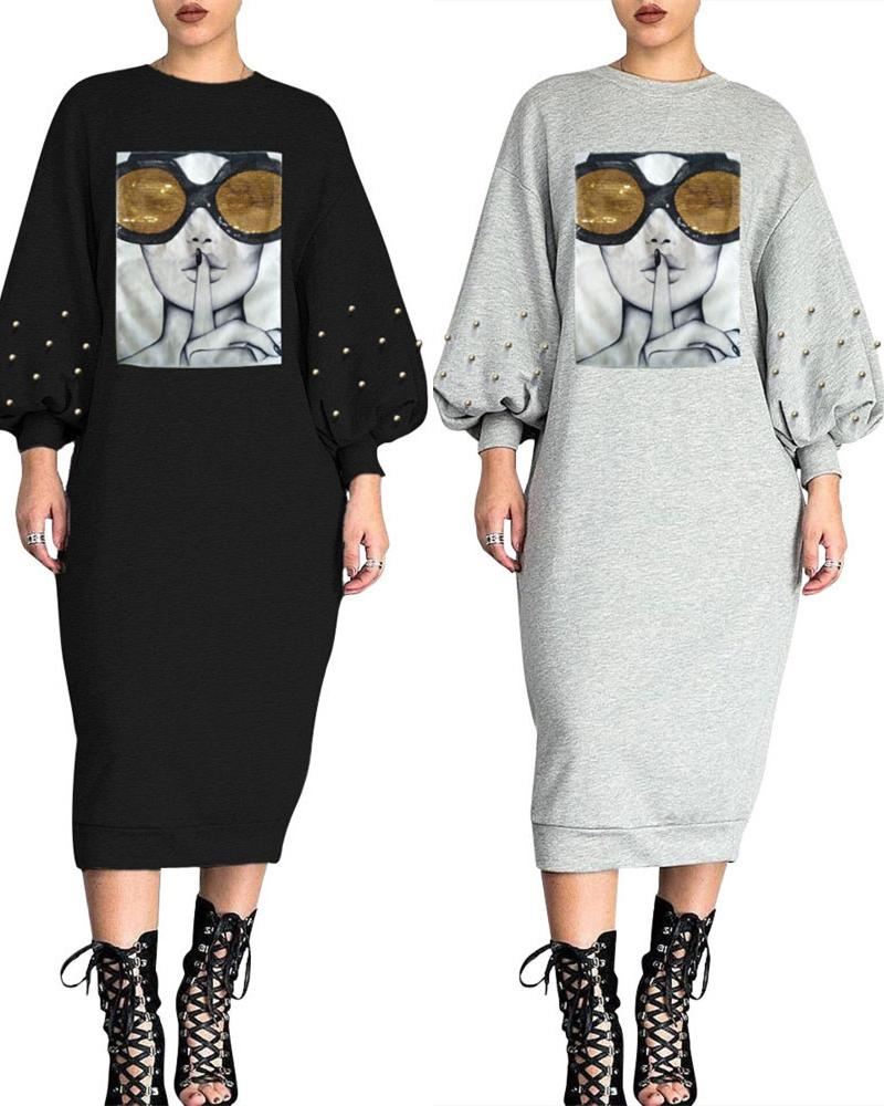 Graphic Print Lantern Sleeve Beaded Sequins Casual Dress