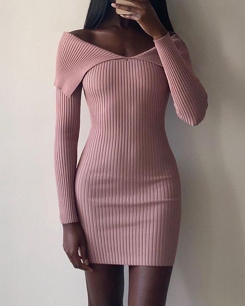 Solid Color V-Neck Rib-knit Bodycon Dress