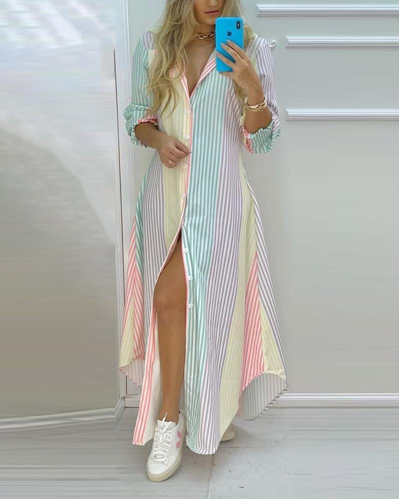 Colorful Stripe Print Button Front High Slit Long Shirt Dress Casual Loose Maxi Kaftan Dress Slit Dress