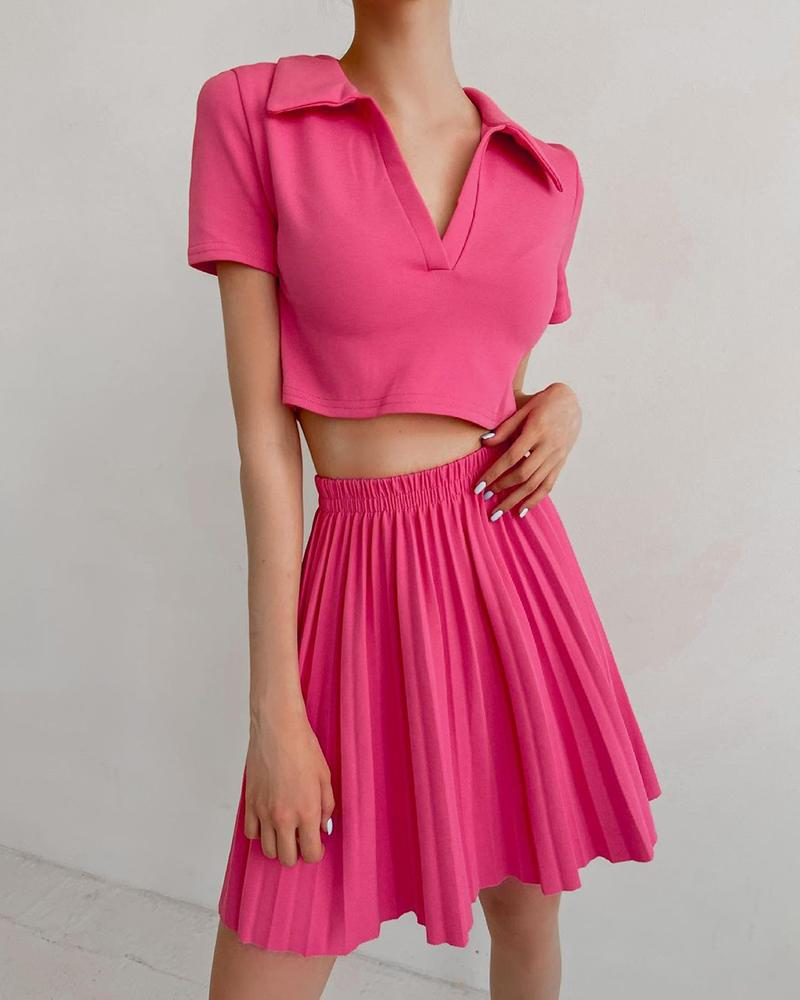 Solid Color Polo Shirt T-shirt With Skirt Skirt Sets