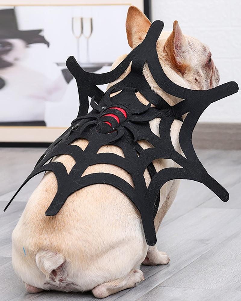Halloween Pet Costume for Dogs and Cats Funny Holiday Spiderweb Dog Adjustable Clothes Soft Pet Cosplay Clothes for Dogs and Kittens