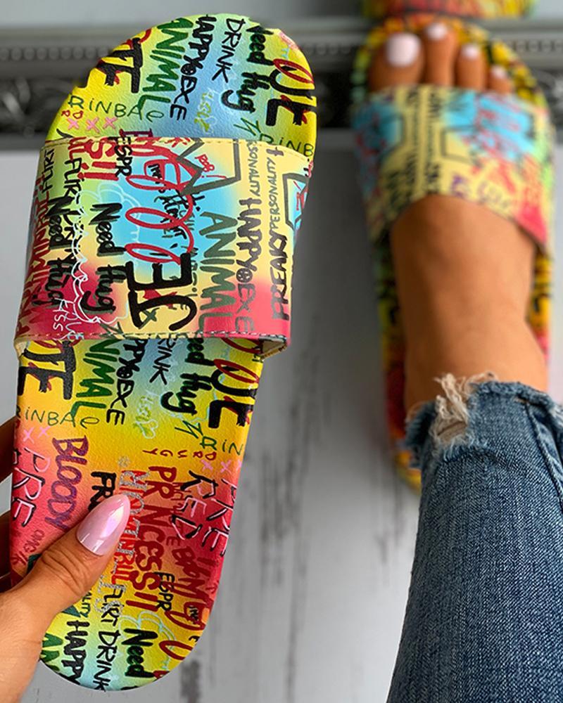 Letter Print Open Toe Flat Sandals