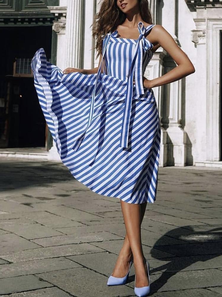 Joyshoetique coupon: Striped Tied Shoulder Casaul Dress