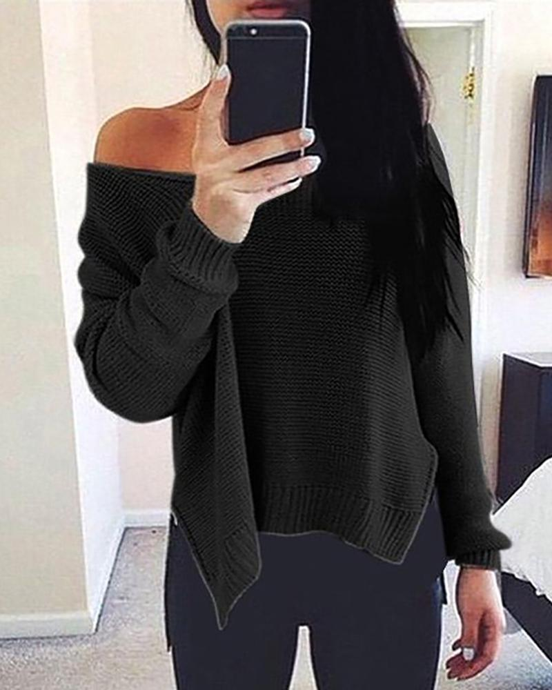 Solid Side Slit Long Sleeve Casual Sweater