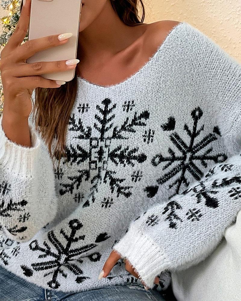Christmas Snowflake Pattern V-Neck Fuzzy Knit Sweater