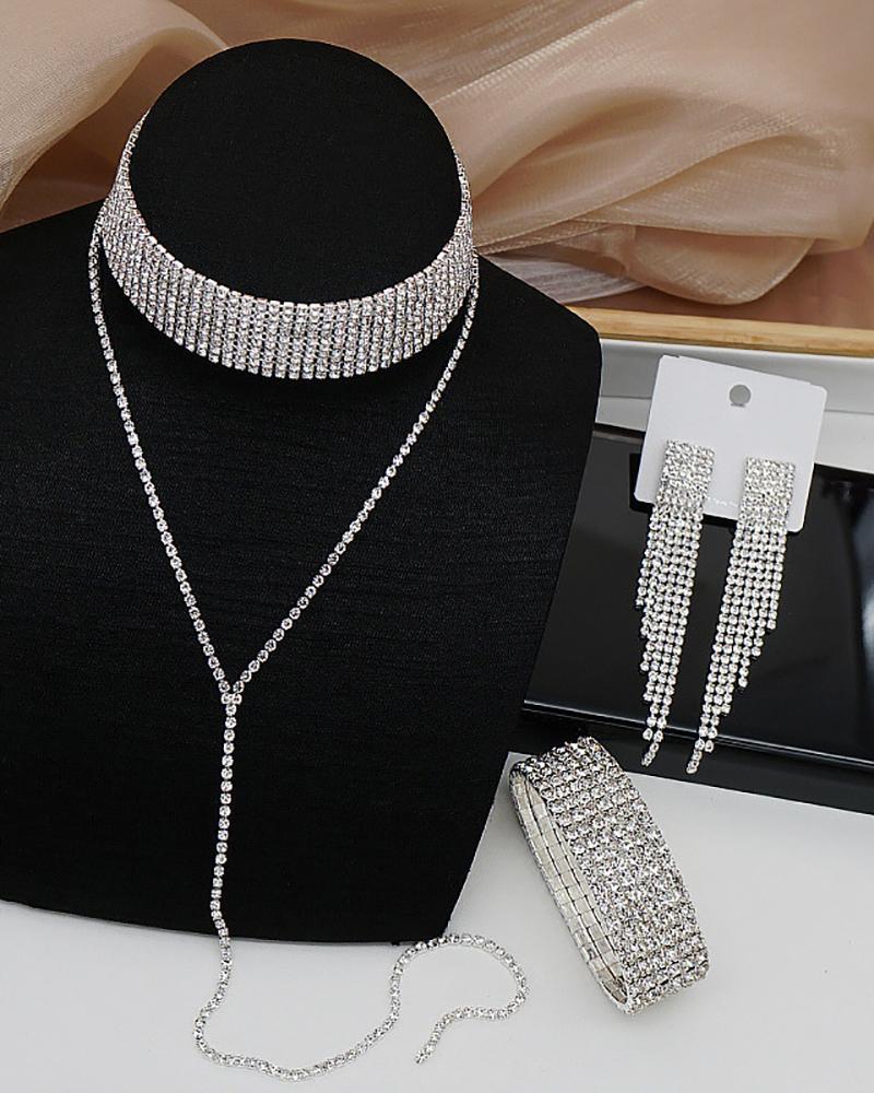 Rhinestone Decor Necklace & Tassel Design Earrings & Bracelet Set, ivrose, silver  - buy with discount