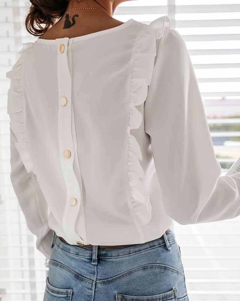 Long Sleeve Button Decor Frill Hem Top thumbnail