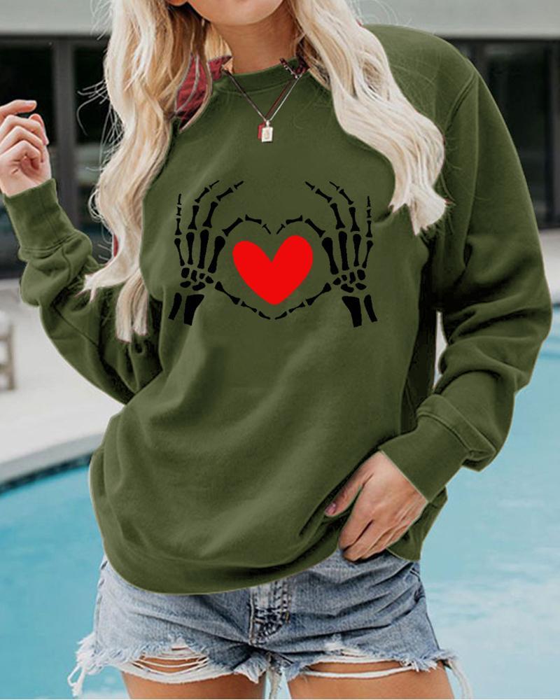 Halloween Heart Print Long Sleeve Sweatshirt thumbnail