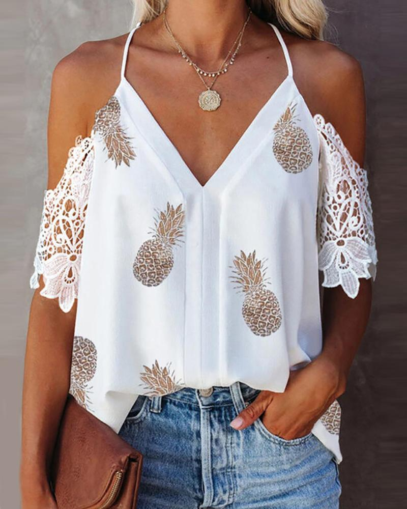 Guipure Lace Pineapple Print Cold Shoulder Top, White