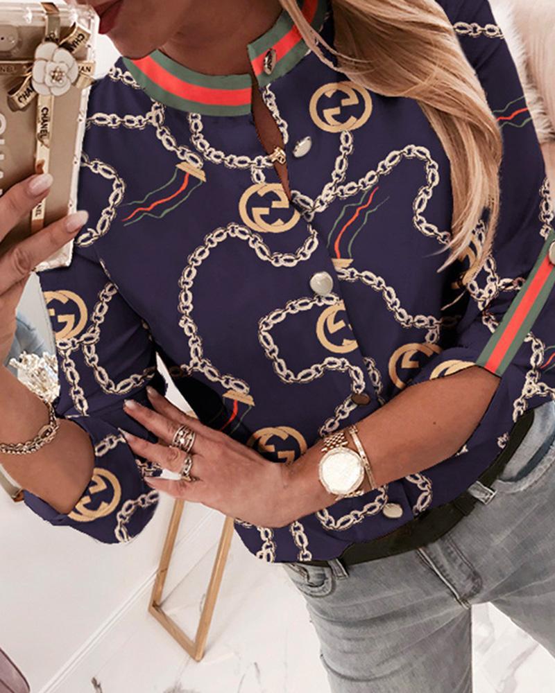 Chain Print Baroque Button Through Casual Shirt thumbnail