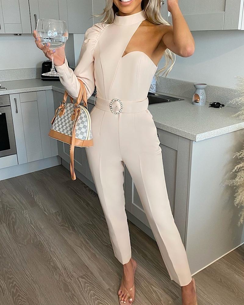 Asymmetrical One Shoulder Puff Sleeve Pocket Skinny Jumpsuit With Belt
