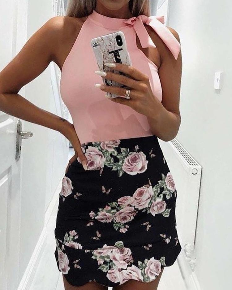 Joyshoetique coupon: Tied Shoulder Floral Print Splicing Mini Dress