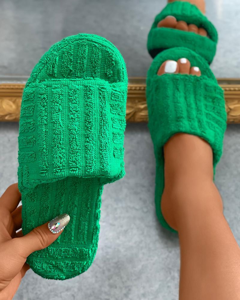 Round Toe Fluffy Slide Slipper