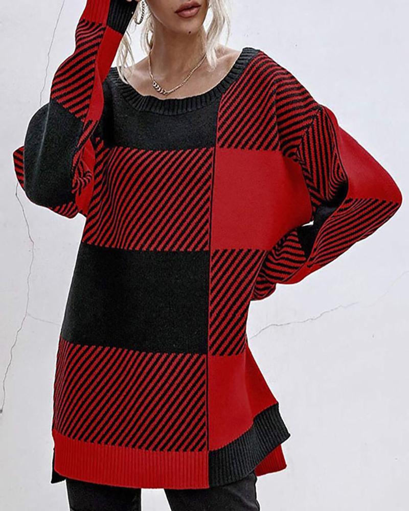 Striped Colorblock Slit Long Sleeve Sweater