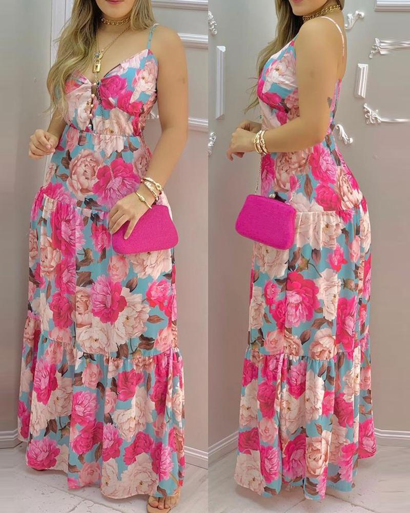 Floral Print Deep V Neck Spaghetti Strap Dress