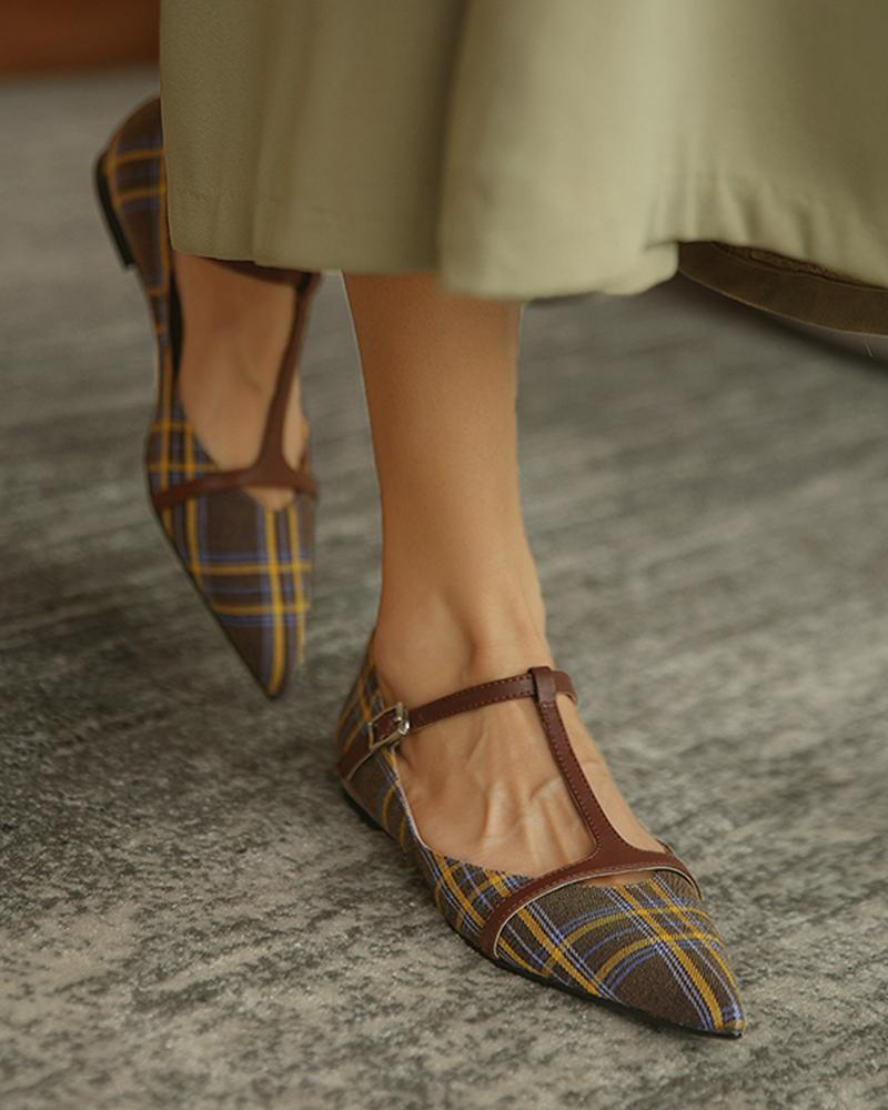 Plaid Print Cutout Buckled Pointed Toe Flats