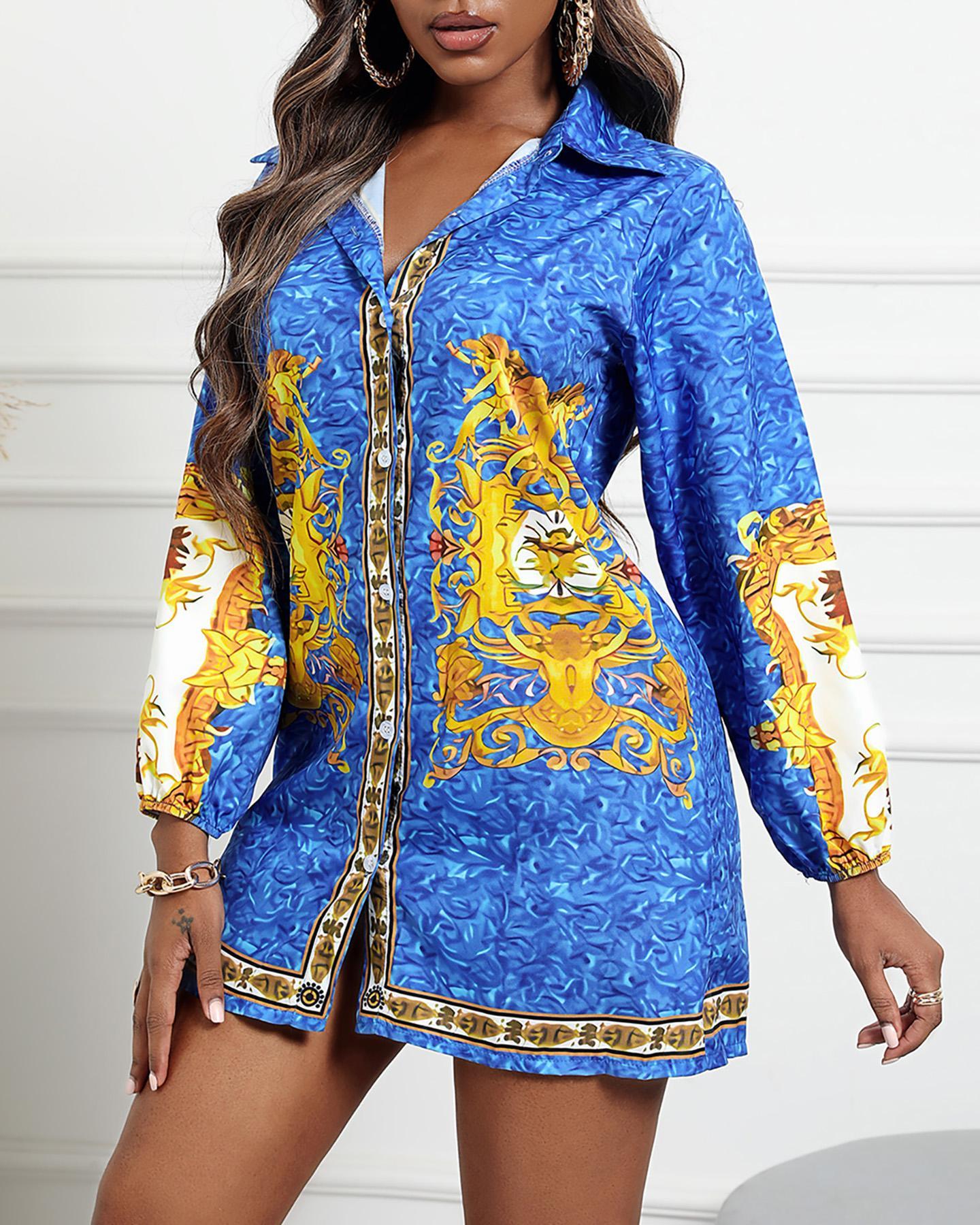 Paisley Print Button Front Shirt Dress