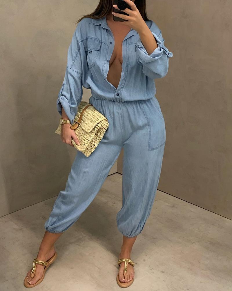 Pocket Button Design Long Sleeve Denim Jumpsuit Solid Color Casual Jumpsuit