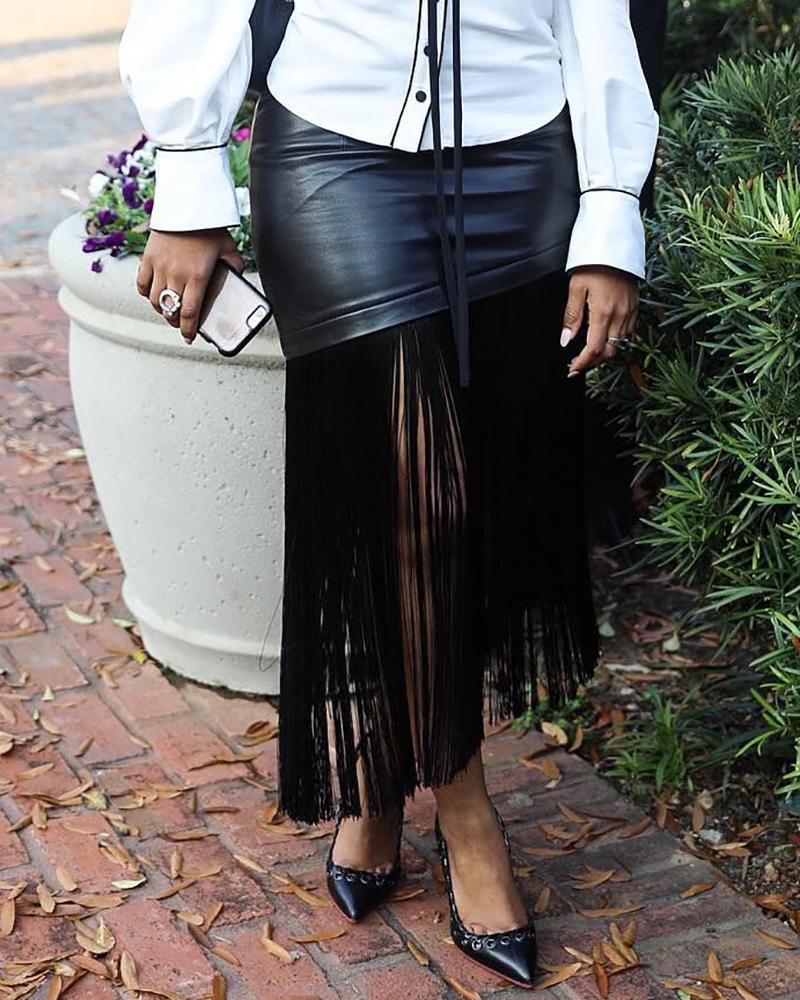 High Slit PU Leather Patch Tassel Design Skirt