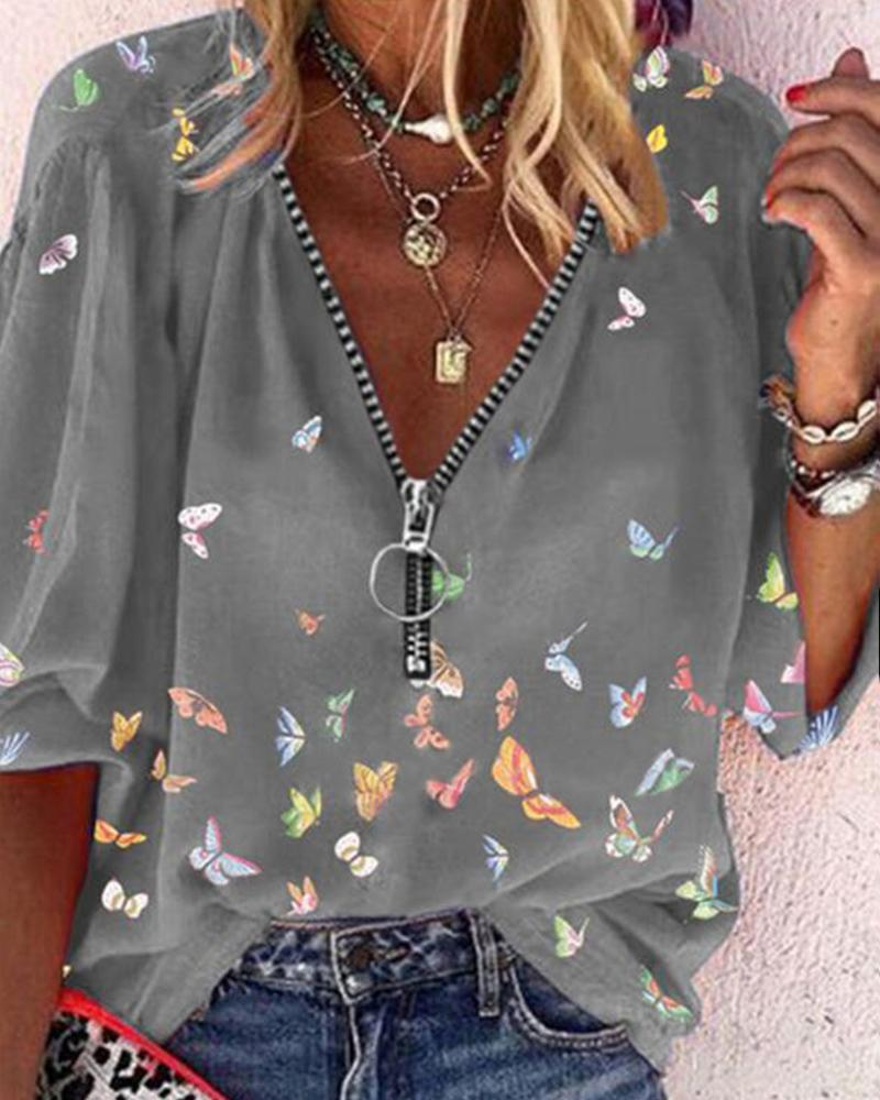 Butterflies Print Zipper Long Sleeve Shirt