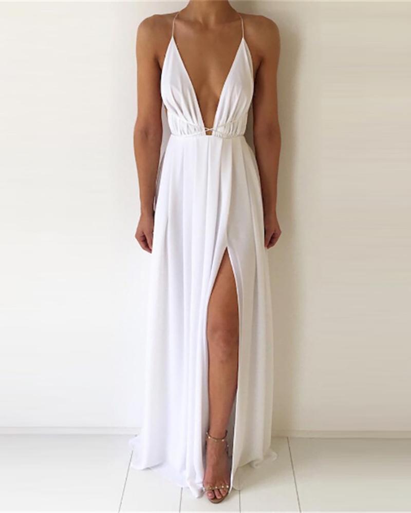 Plunge Plain / Floral Print High Slit Maxi Dress, White