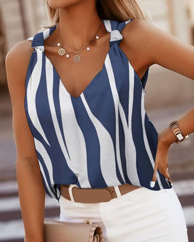 Ivrose coupon: Summer Colorblock Knotted V Neck Sleeveless Stripe Tank Top