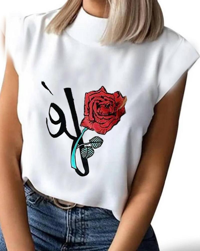 Floral Letter Print Short Sleeve T-Shirt