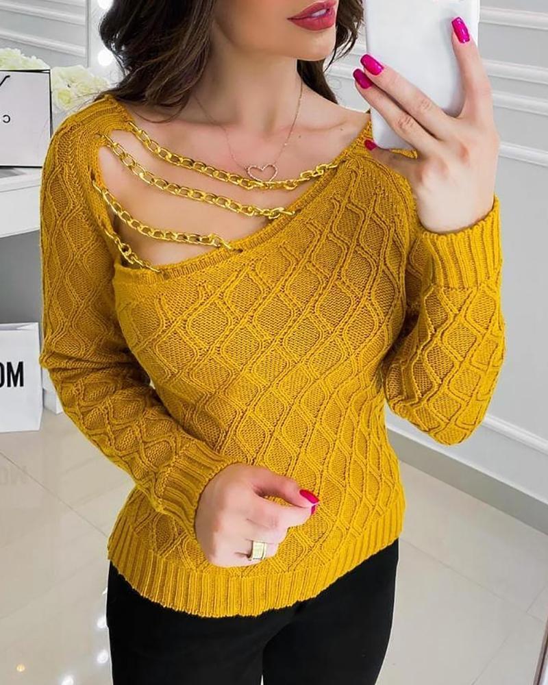 Asymmetrical Neck Chain Strap Knit Sweater