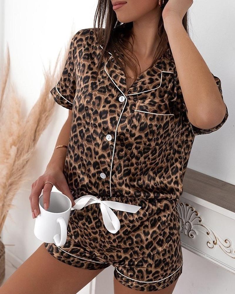 Leopard Print Button Pocket Top & Drawstring Shorts Pajamas Set