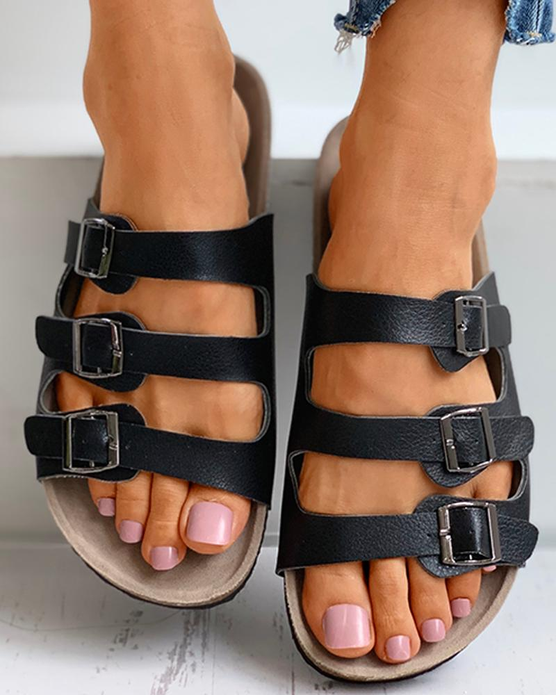 ChicMe coupon: Open Toe Cheetah Print Buckled Flat Sandals