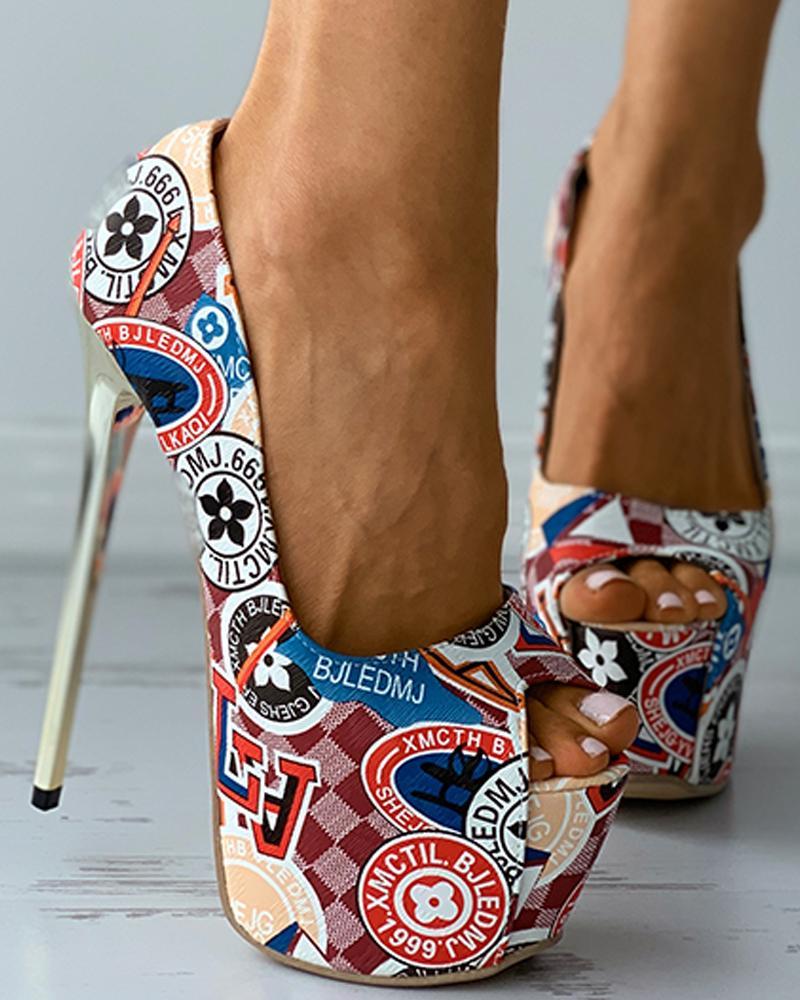 Graphic Print Peep Toe Platform Stiletto Heels thumbnail