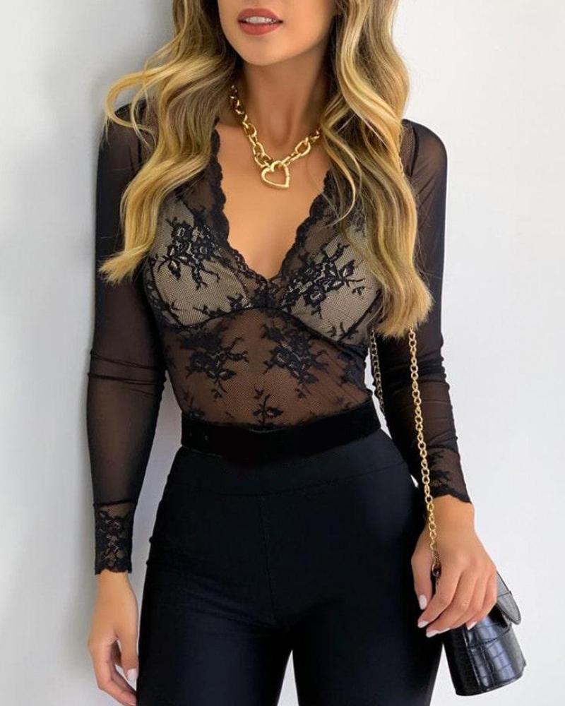 Cutout Backless Sheer Mesh Crochet Lace Top, Black