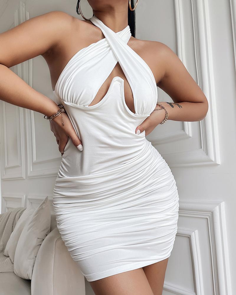 Halter Cutout Ruched Bodycon Dress thumbnail