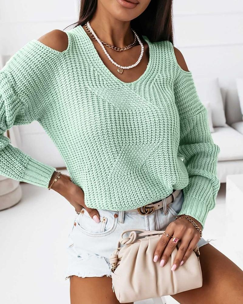 Long Sleeve Cold Shoulder Sweater, ivrose, green  - buy with discount