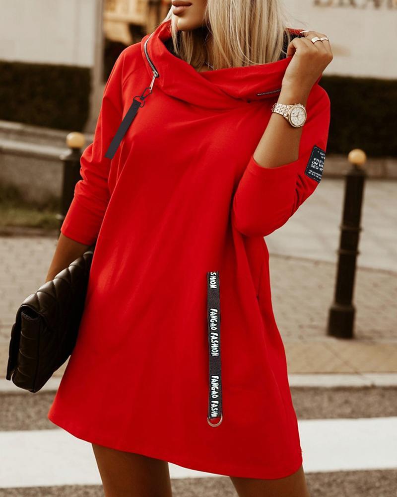 Letter Print Zipper Design Hooded Sweatshirt Dress