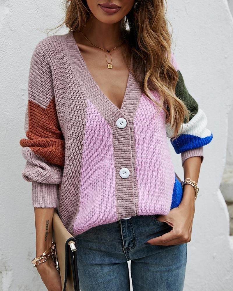 Knit Button Front Colorblock Lantern Sleeve Cardigan, Pink