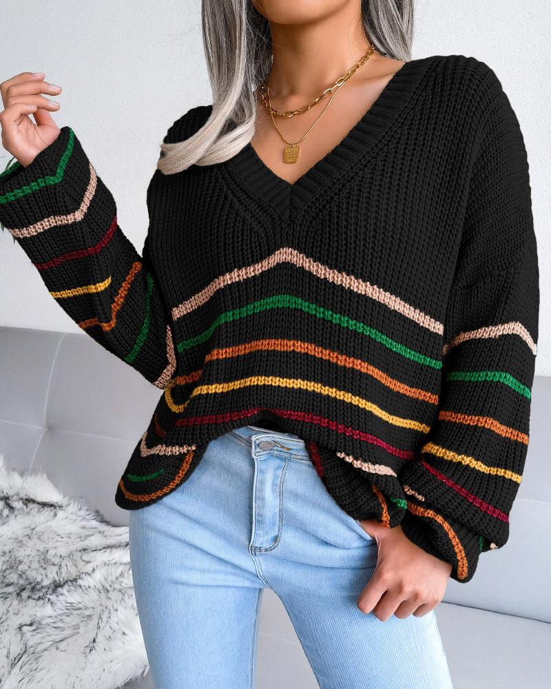 Striped Long Sleeve V Neck Sweater