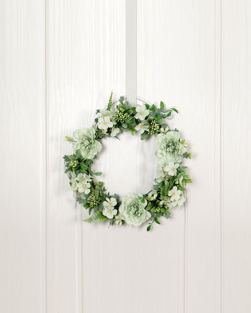 Camellia Flower Wreath Artificial Garland Wreath Handmade Home Decoration For Wedding Christmas Party