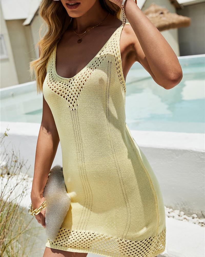 Hollow Out Crisscross Backless Knit Dress