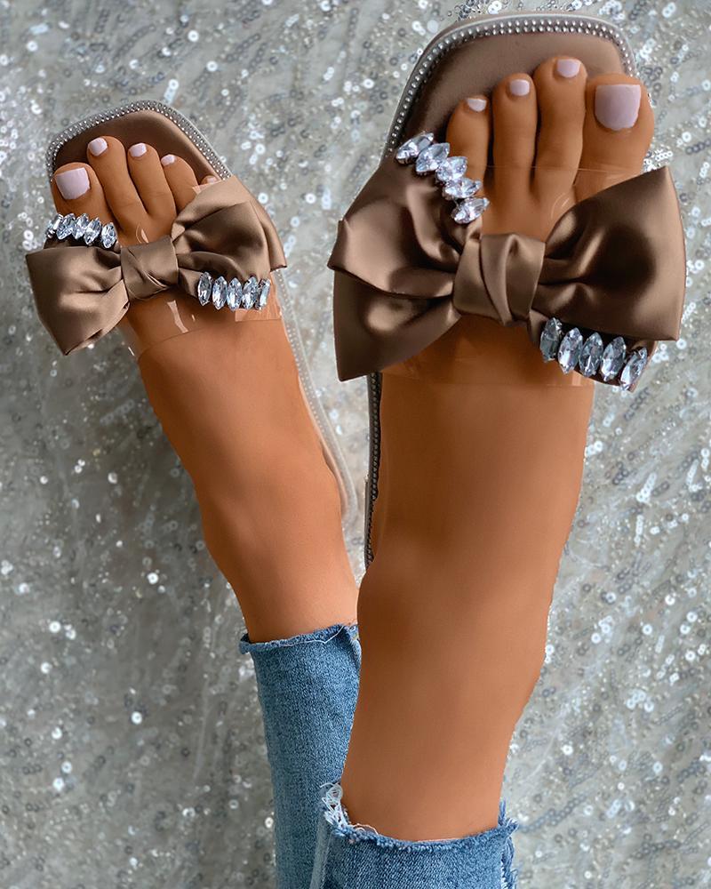 Rhinestone Decor Bowknot Clear Perspex Slippers