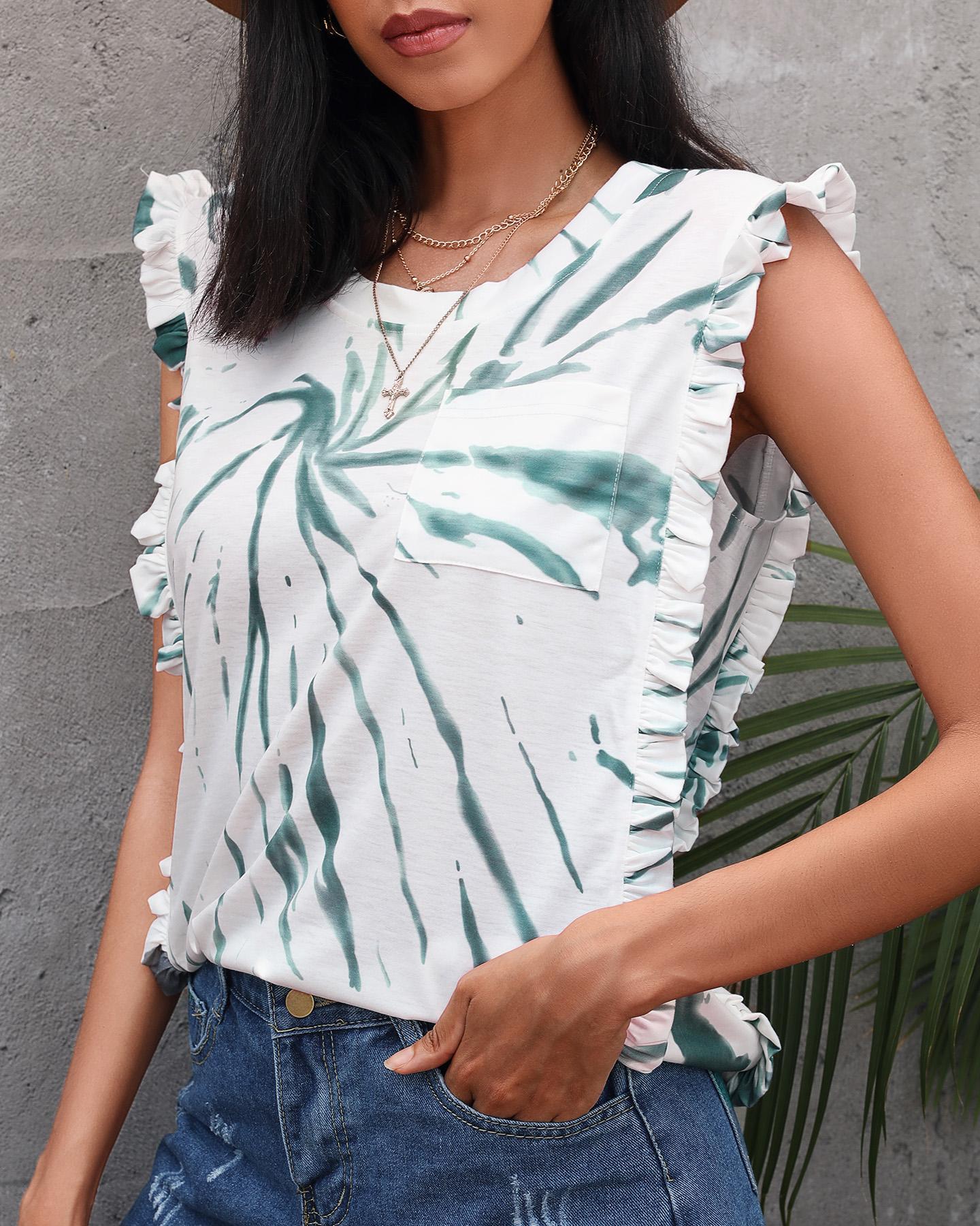 Tie Dye Print Frill Hem Sleeveless Top